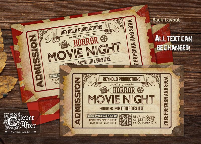 scary movie night invitation
