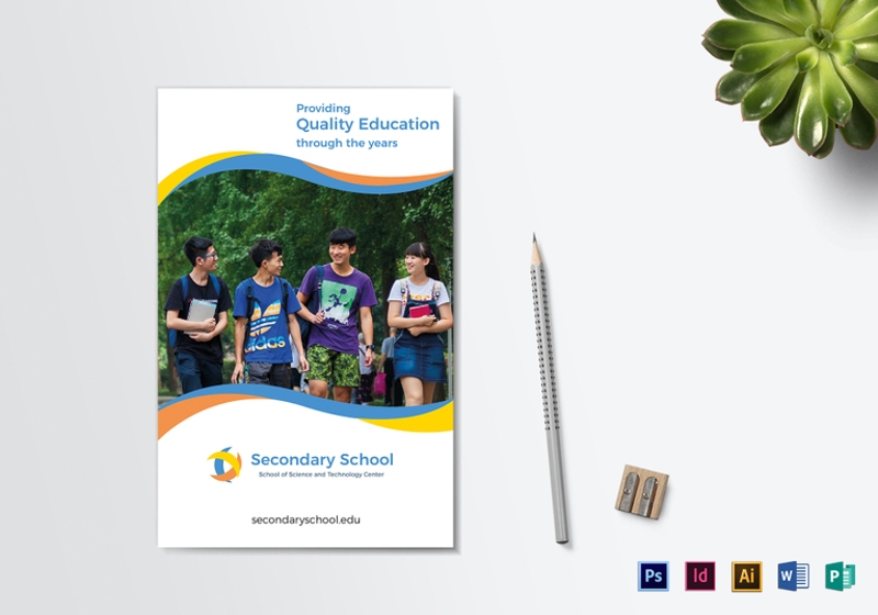 school education bi fold brochure template