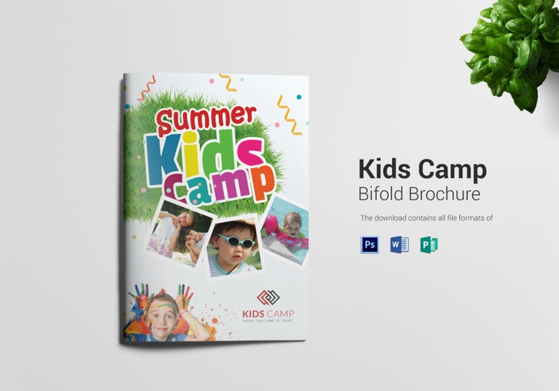 school kids camp bi folding brochure template