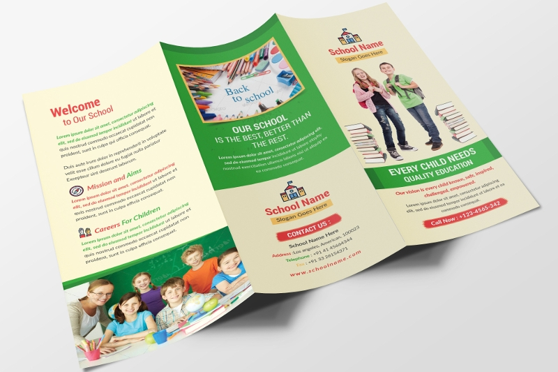school trifold brochure design