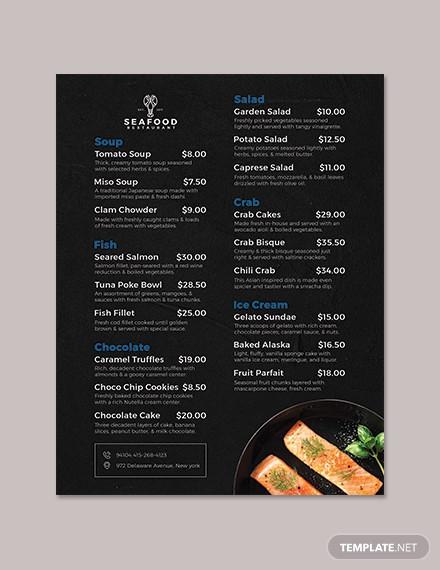 seafood flyer menu template