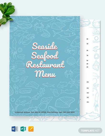 seafood restaurant menu template