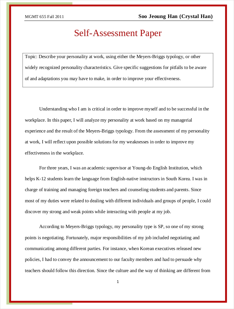 evaluation essay pdf format  self assessment essay example