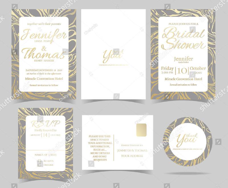 set of wedding invitation rsvp card