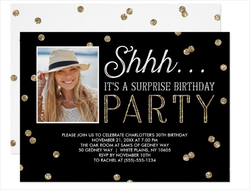 shh surprise birth day party glitter photo invitation