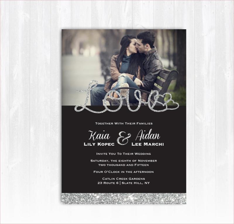 silver glitter photo wedding invitation