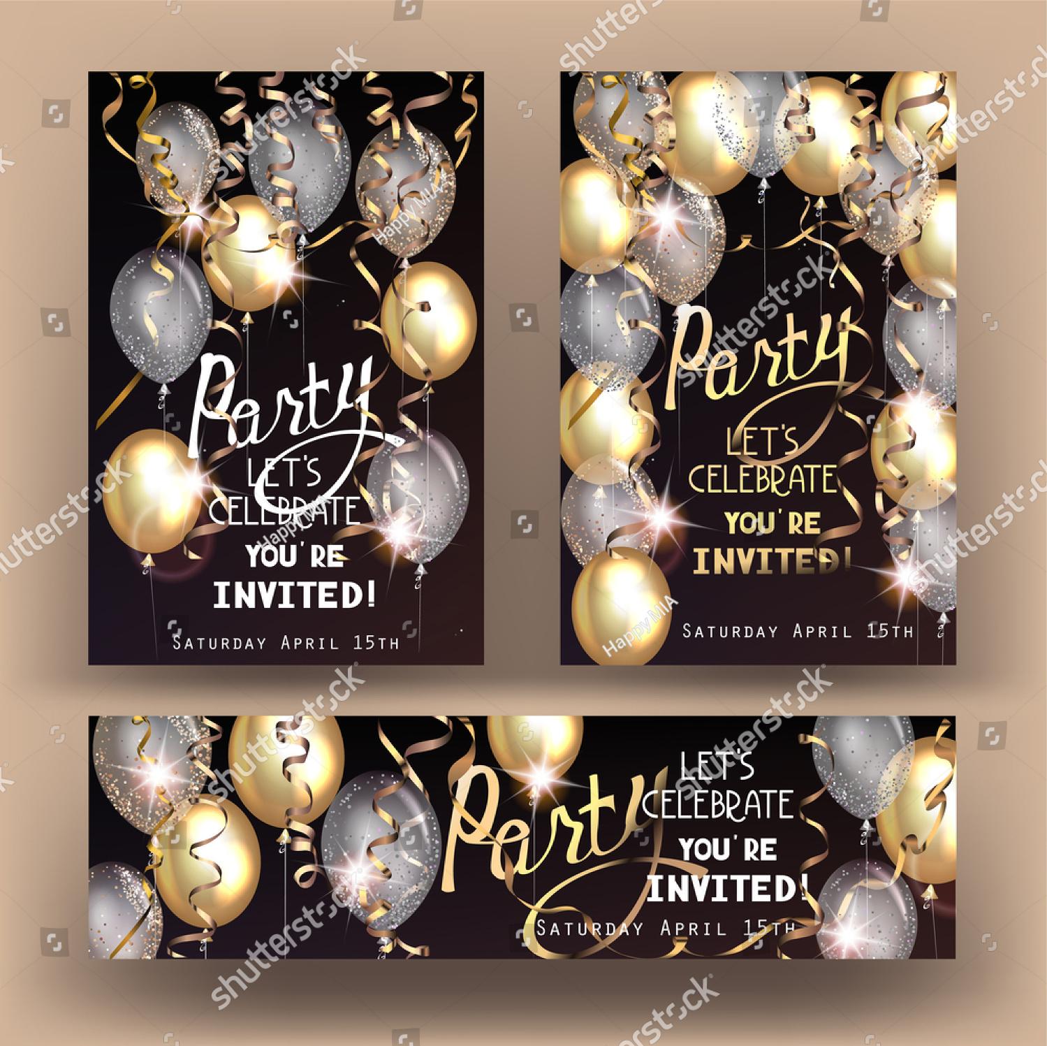 silver surprise party invitation