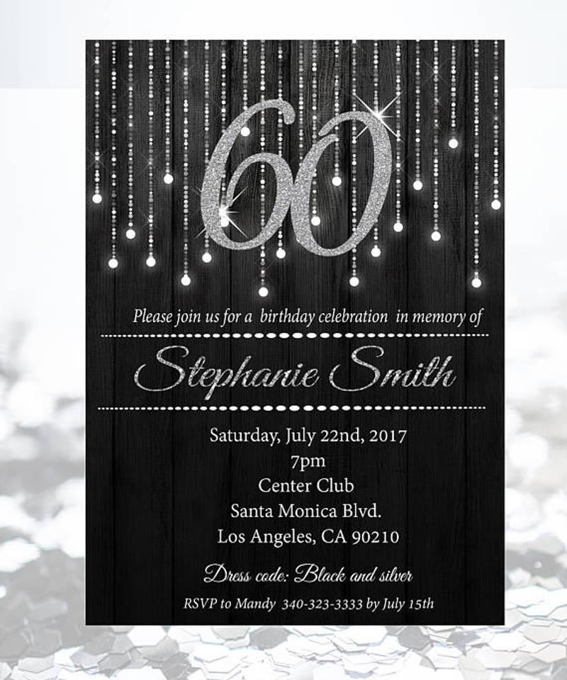 silver and black light birthday celebration invitation
