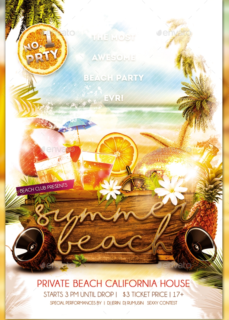 simple beach party invitation