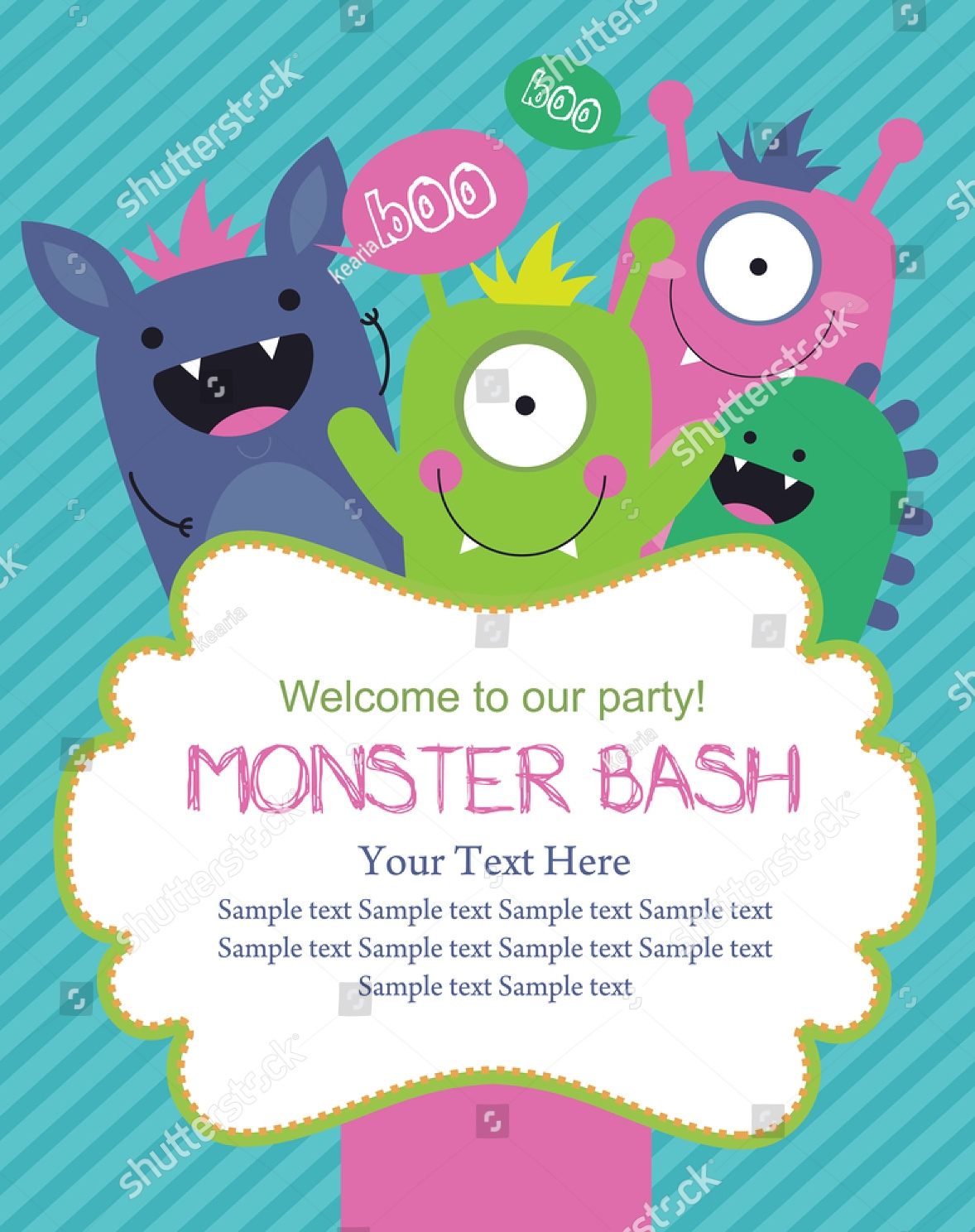 simple beast monster birthday invitation