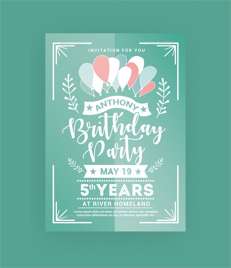 simple birthday party invitation template