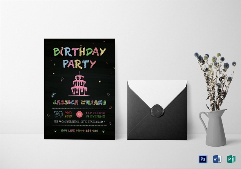 simple chalkboard birthday party invitation