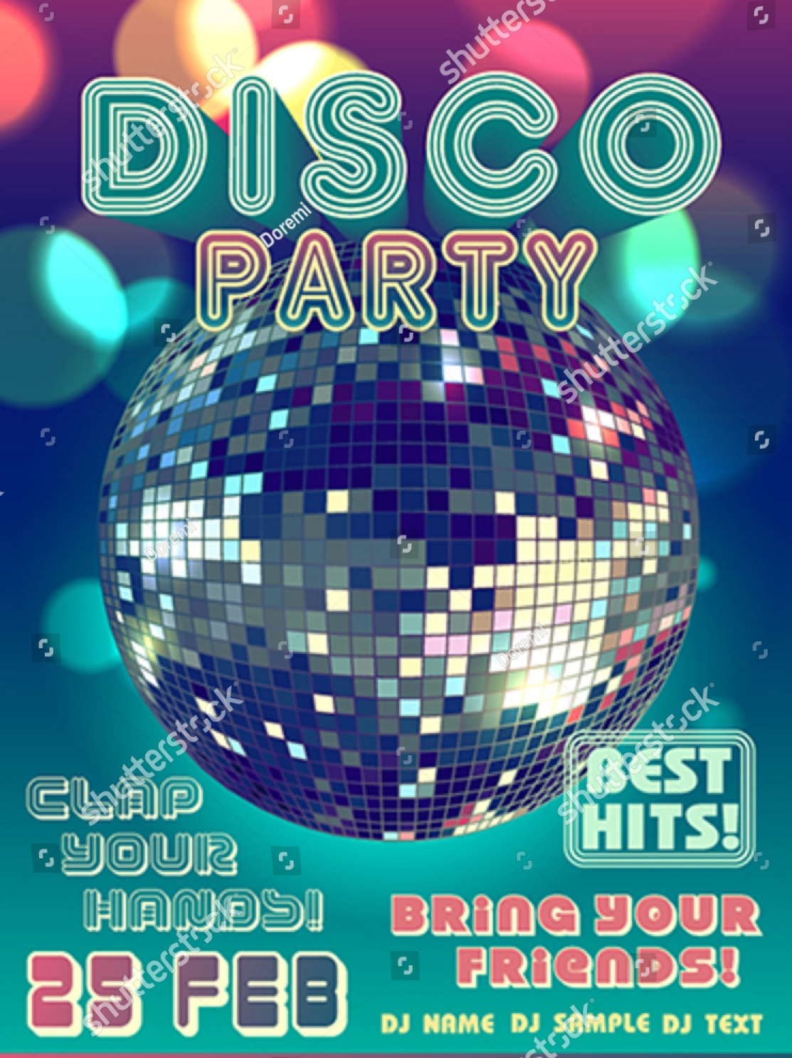 simple disco party invitation