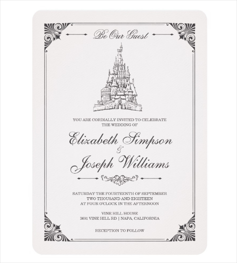 simple fairy tale castle wedding invitation