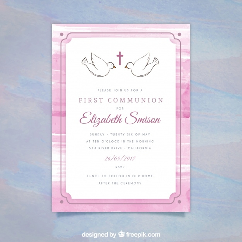 simple first communion invitation
