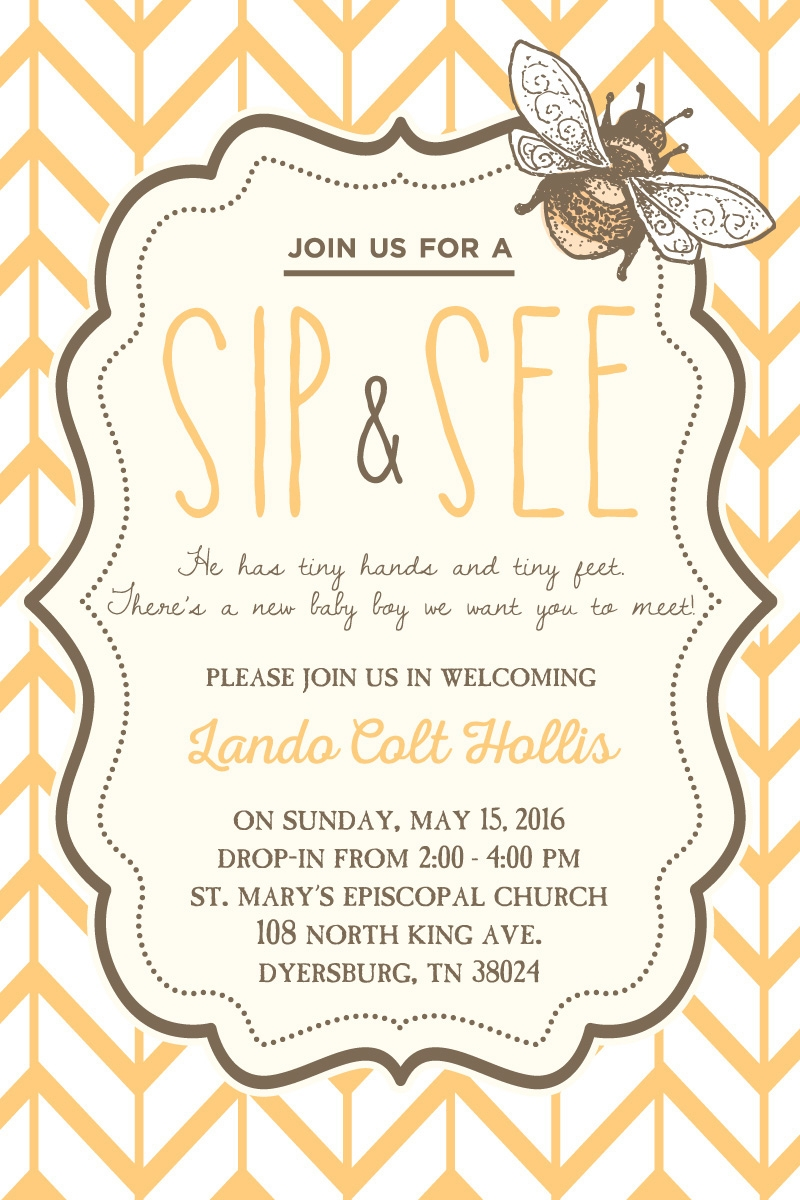 sip and see invitation design