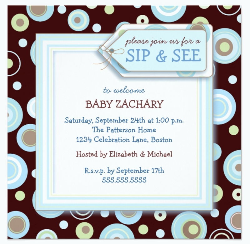 sip and see new baby welcome invitation