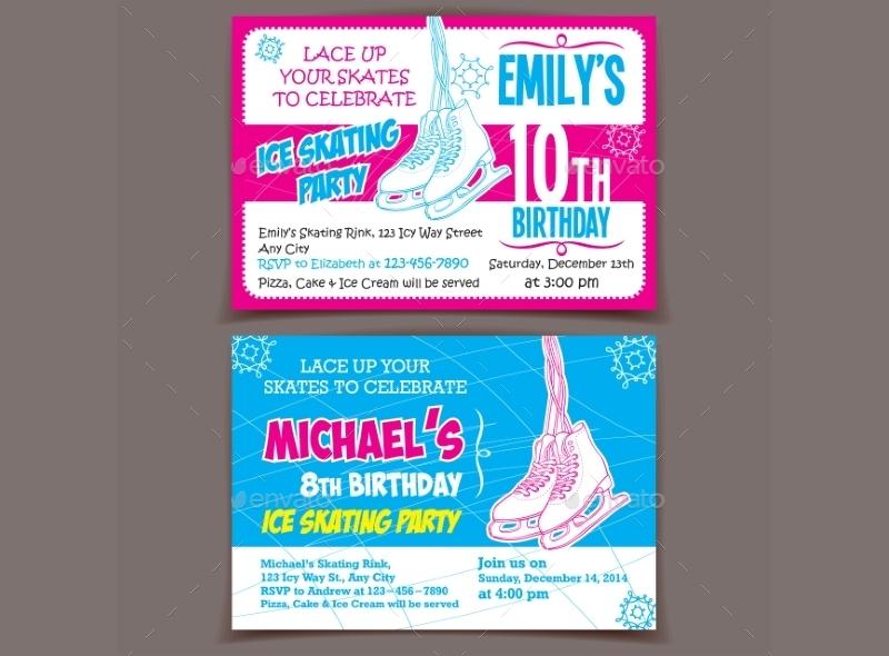 skating birthday party invitation cards