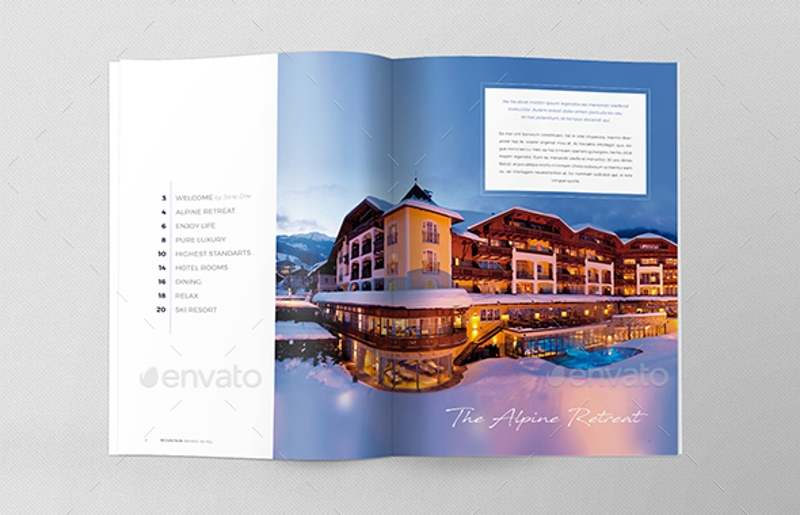 ski resort hotel brochure template