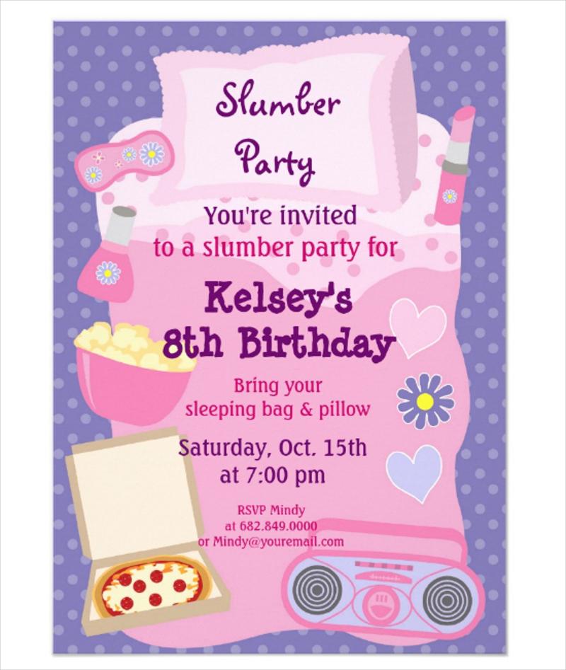 sleepover pajama invitation