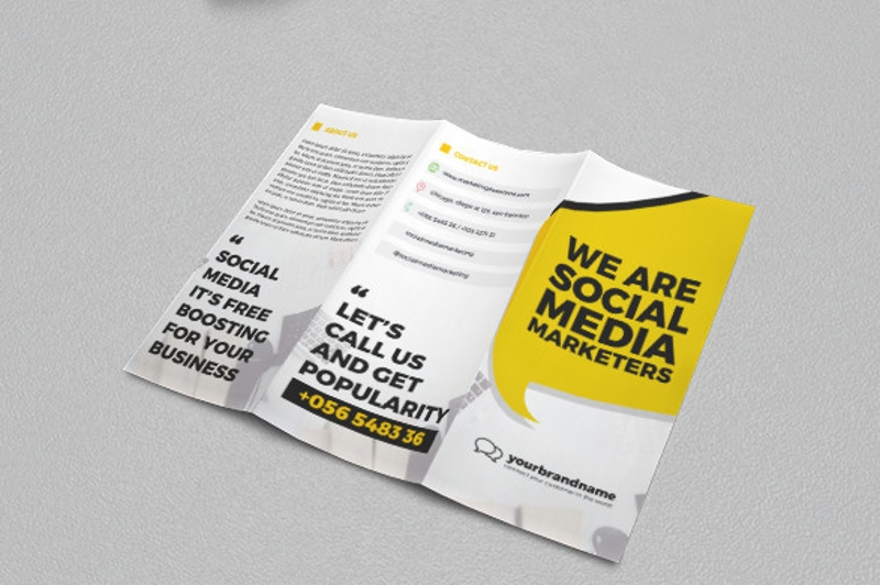social media marketing trifold brochure design