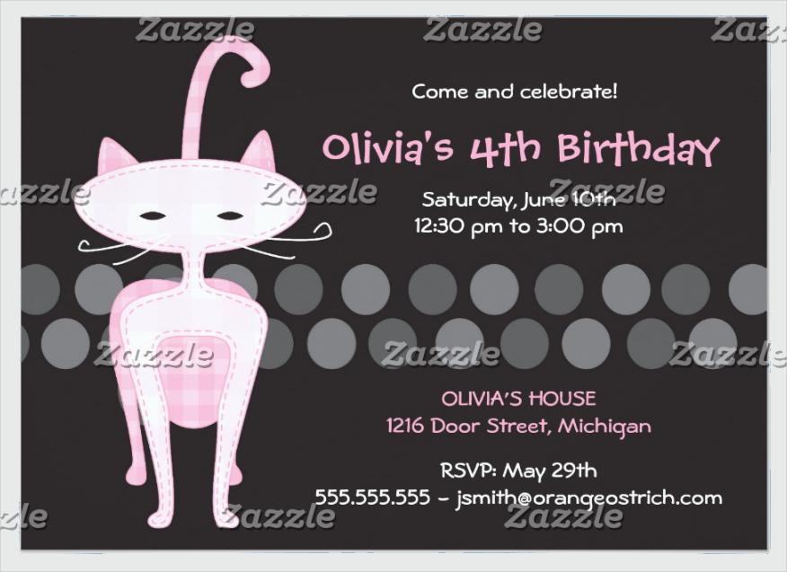 sophisticated pink kitty birthday invitation