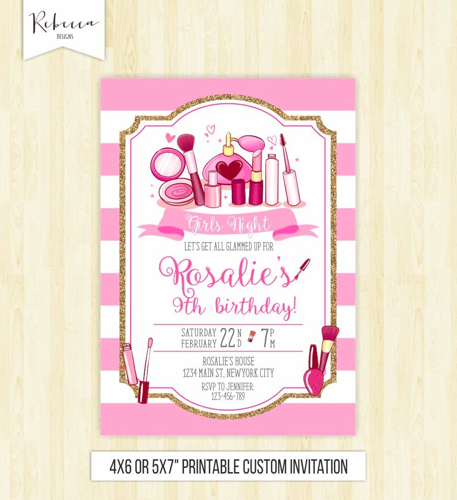 spa party makeup invitation