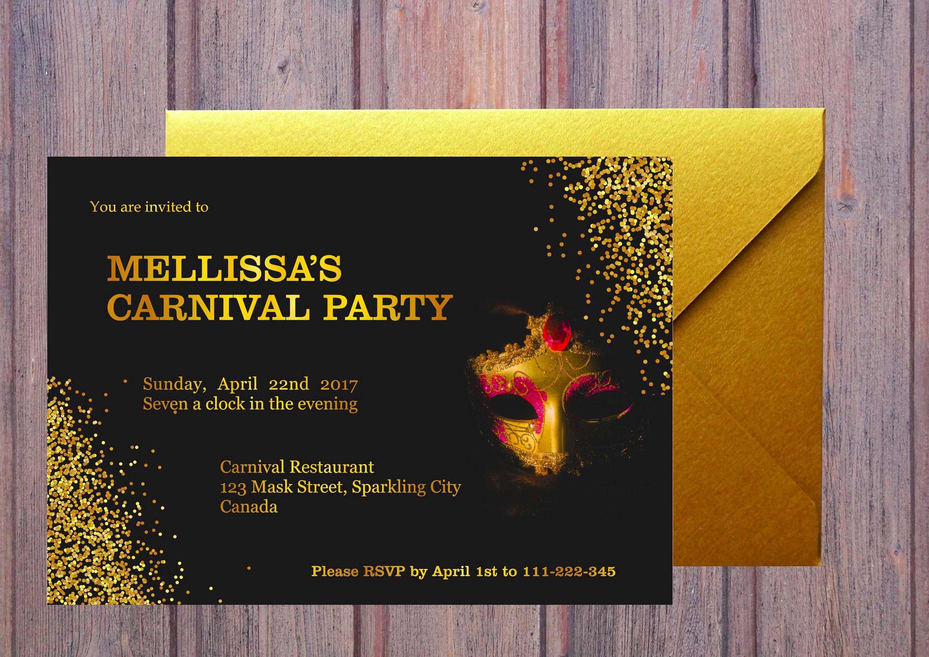 sparkling carnival party invitation