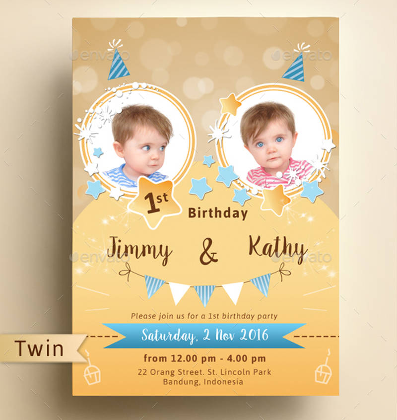 sparkling double birthday party invitation