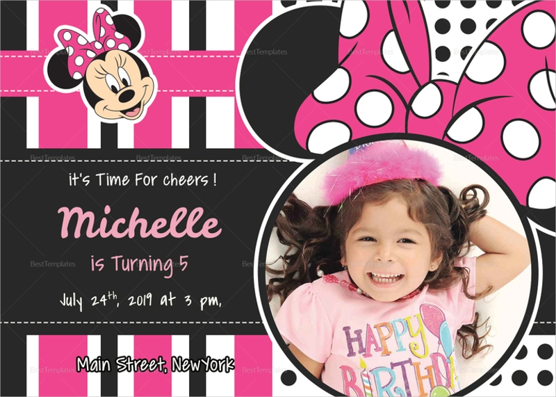 sparkling minnie mouse birthday invitation