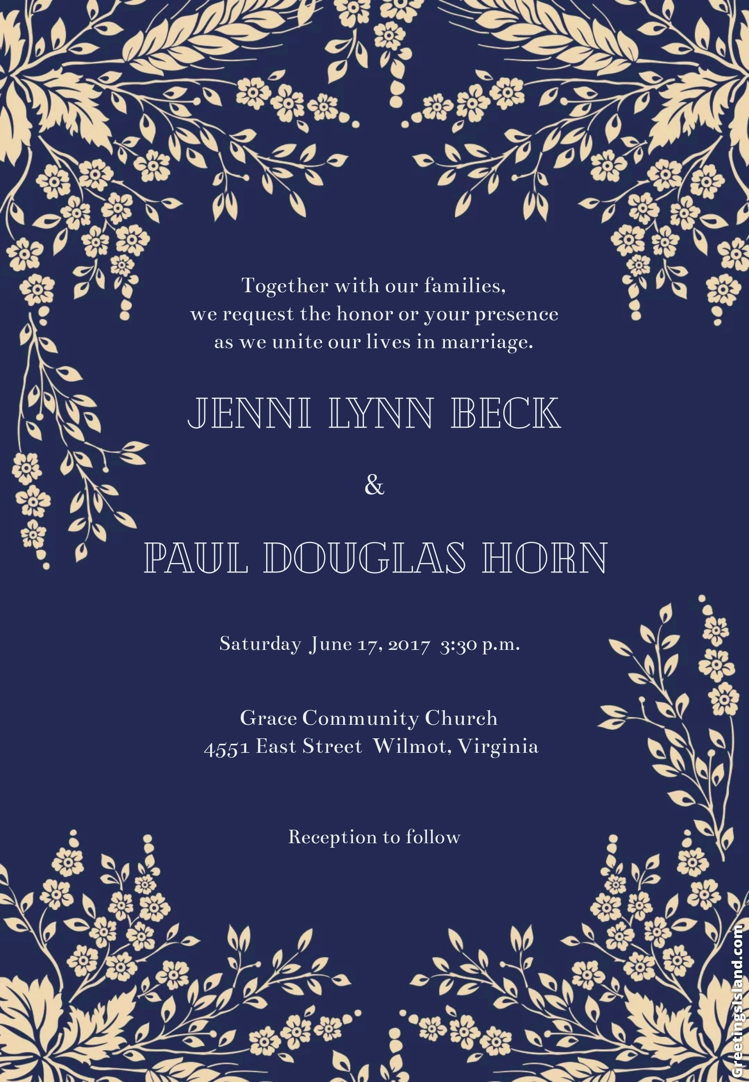 sprig sprays wedding invitation template