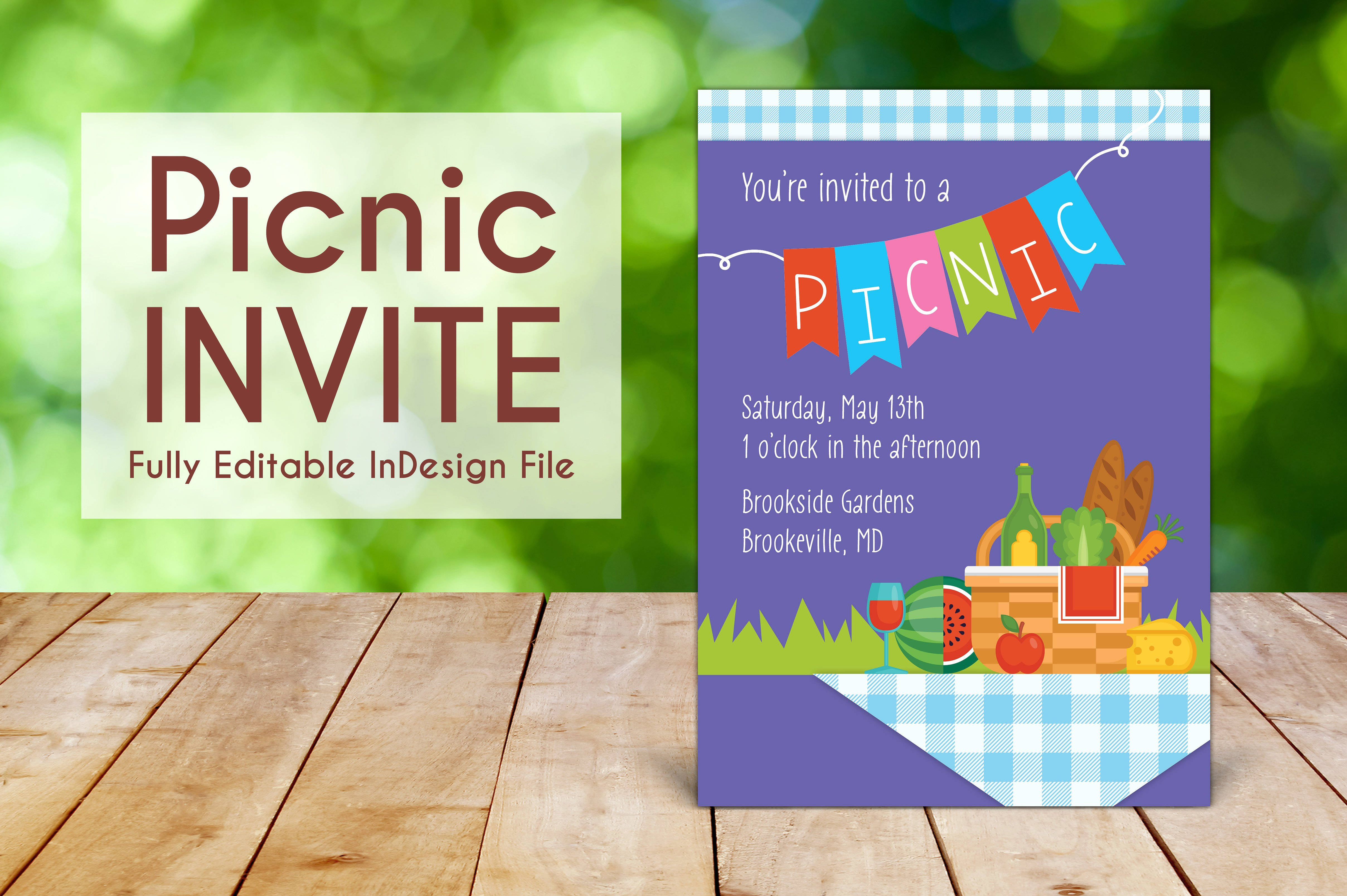 spring outdoor picnic invitation in indesign