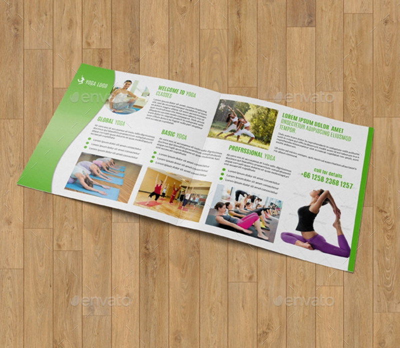 square bifold for yoga center brochure