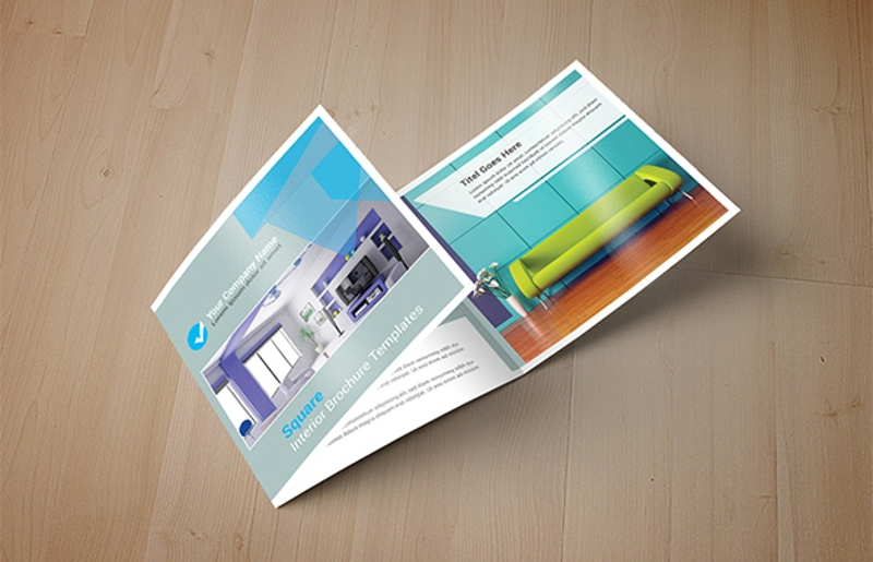 square interior trifold brochure design