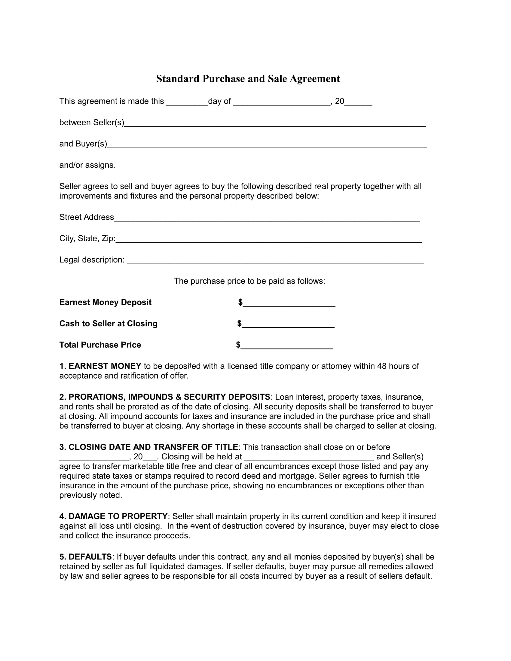 standard purchase and sale agreement 1