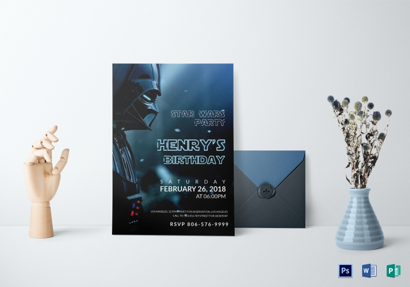 star wars birthday party invitation template