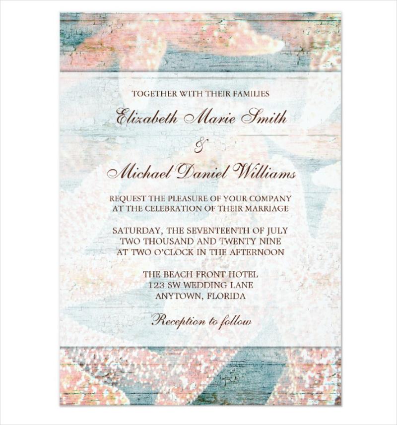 starfish teal blue wedding invitation