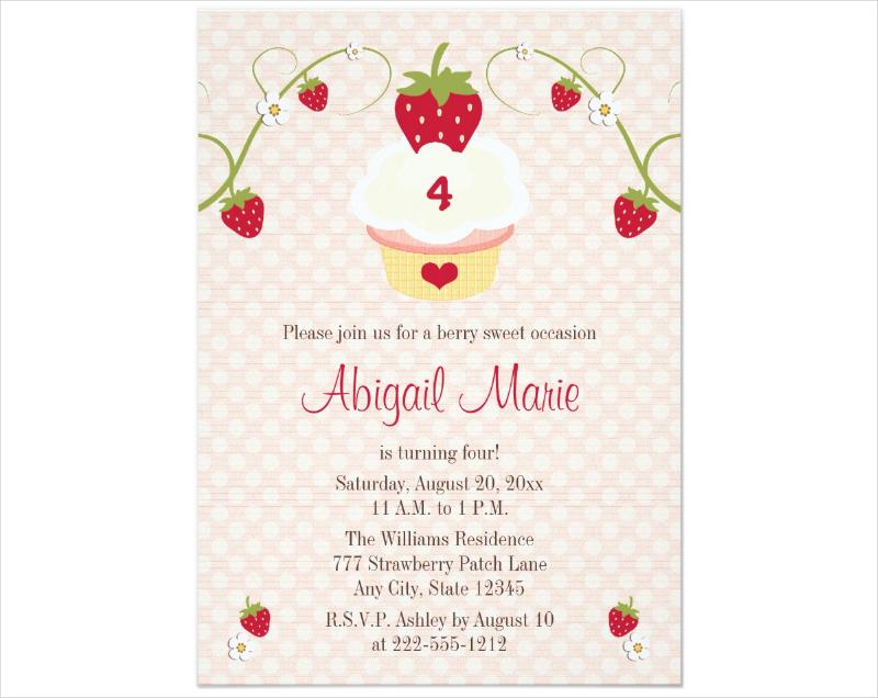 strawberry cupcake birthday invitation 1