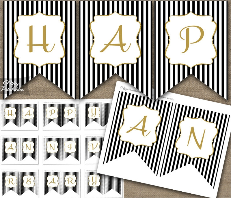 striped happy anniversary banner