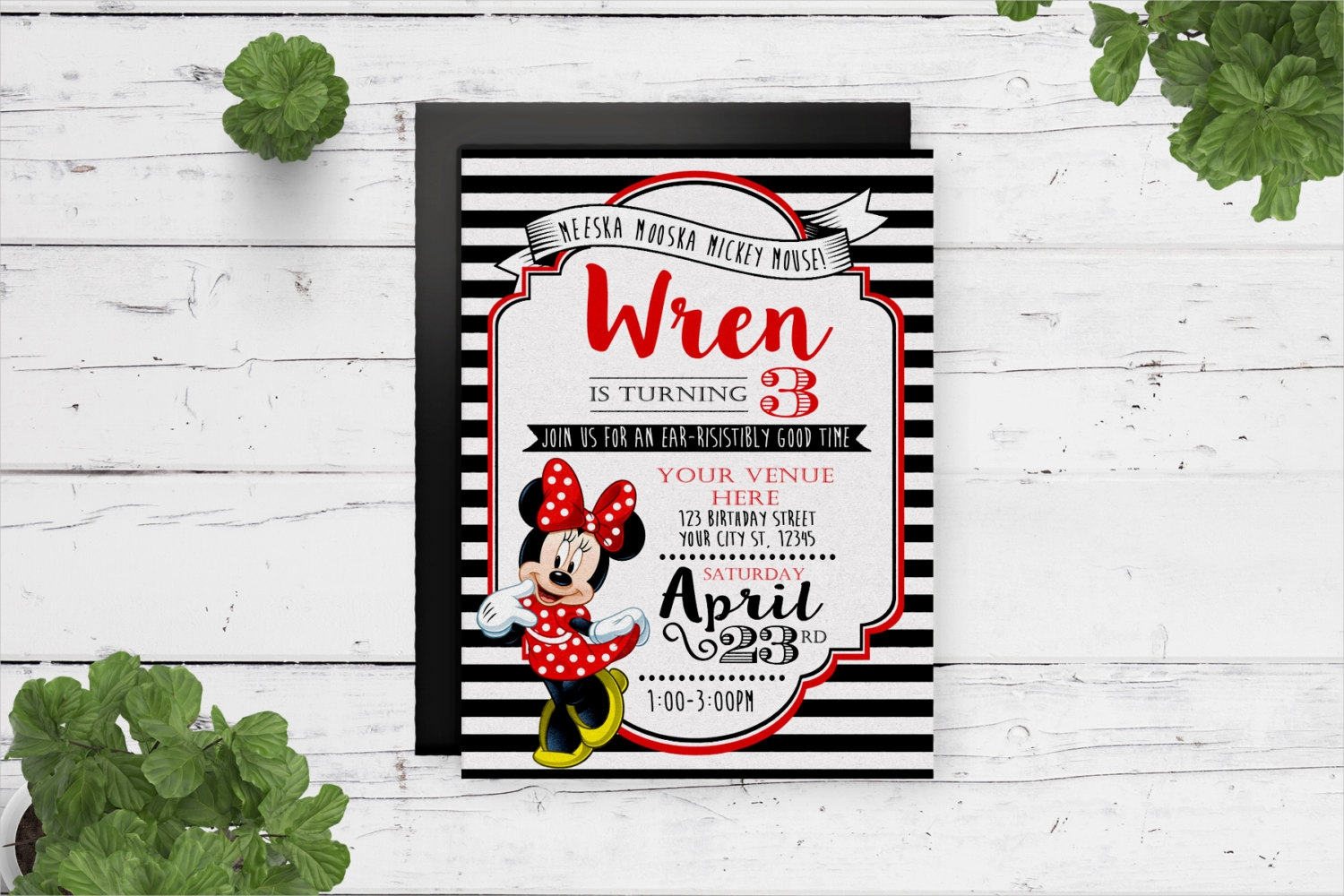 striped minnie mouse birthday invitation