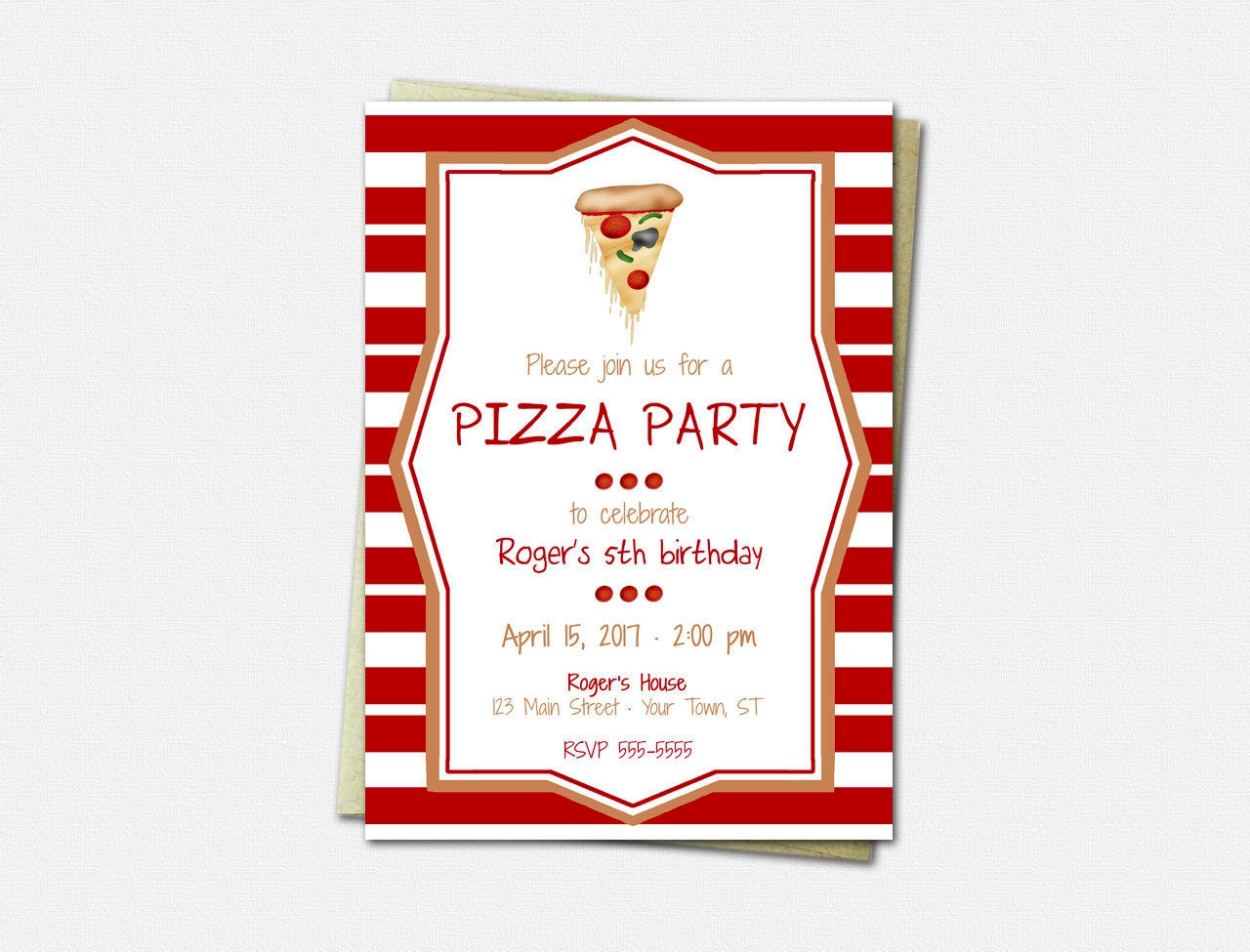 striped pizza party invitations