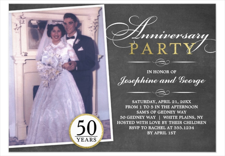 stylish anniversary party photo invitation