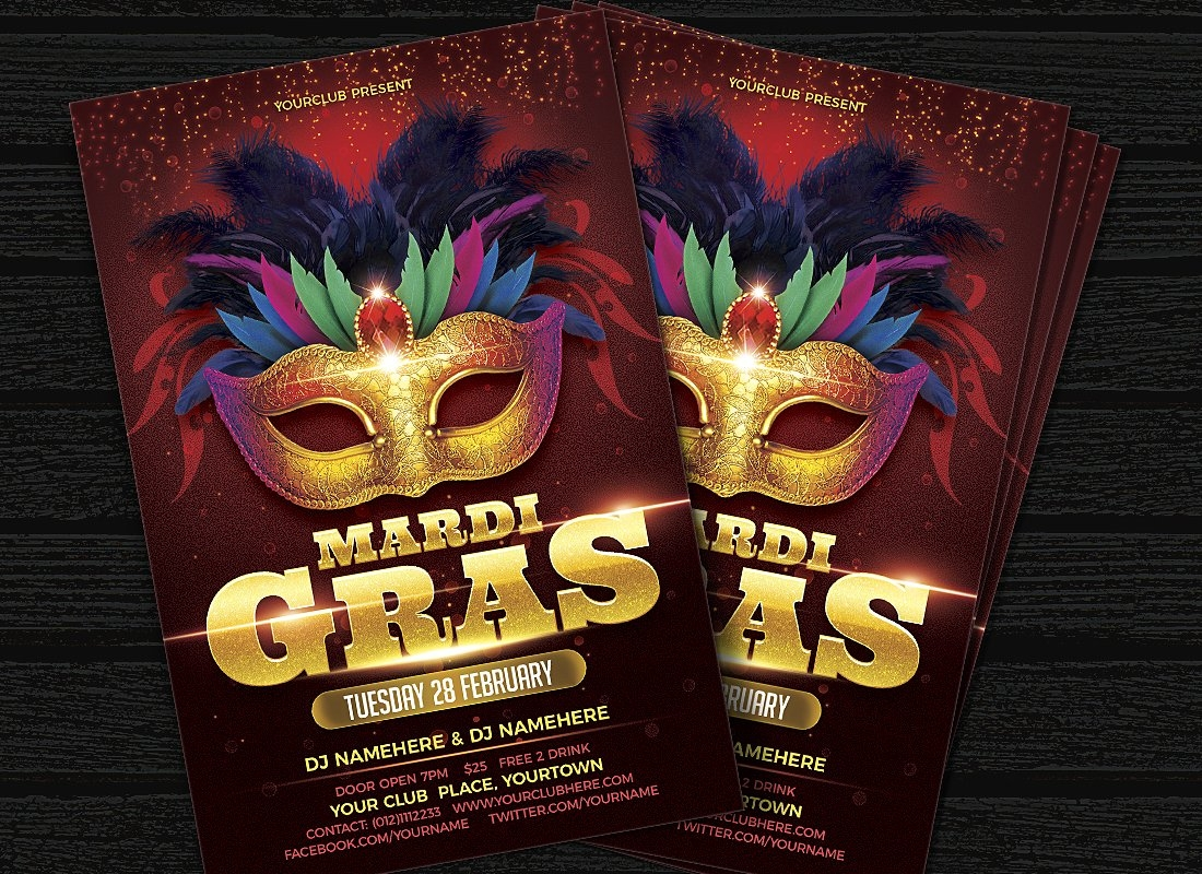 stylish mask party invitation