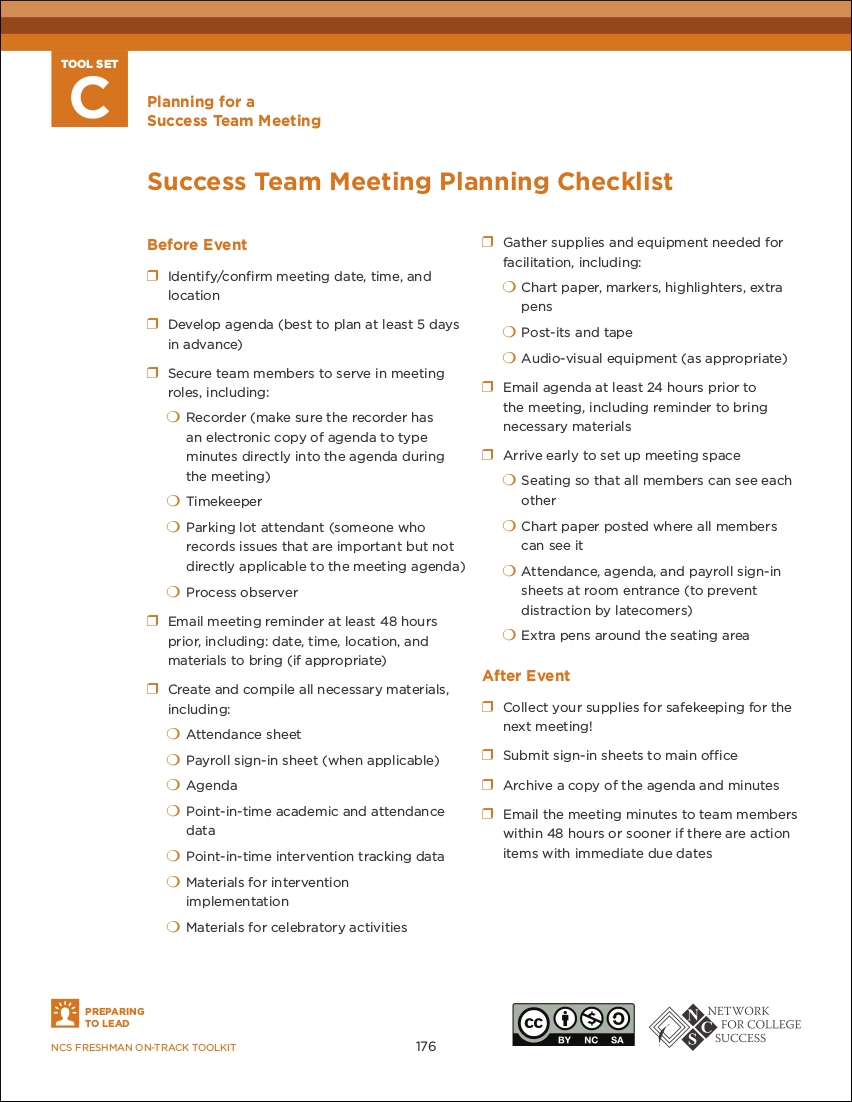 success team meeting planning checklist sample