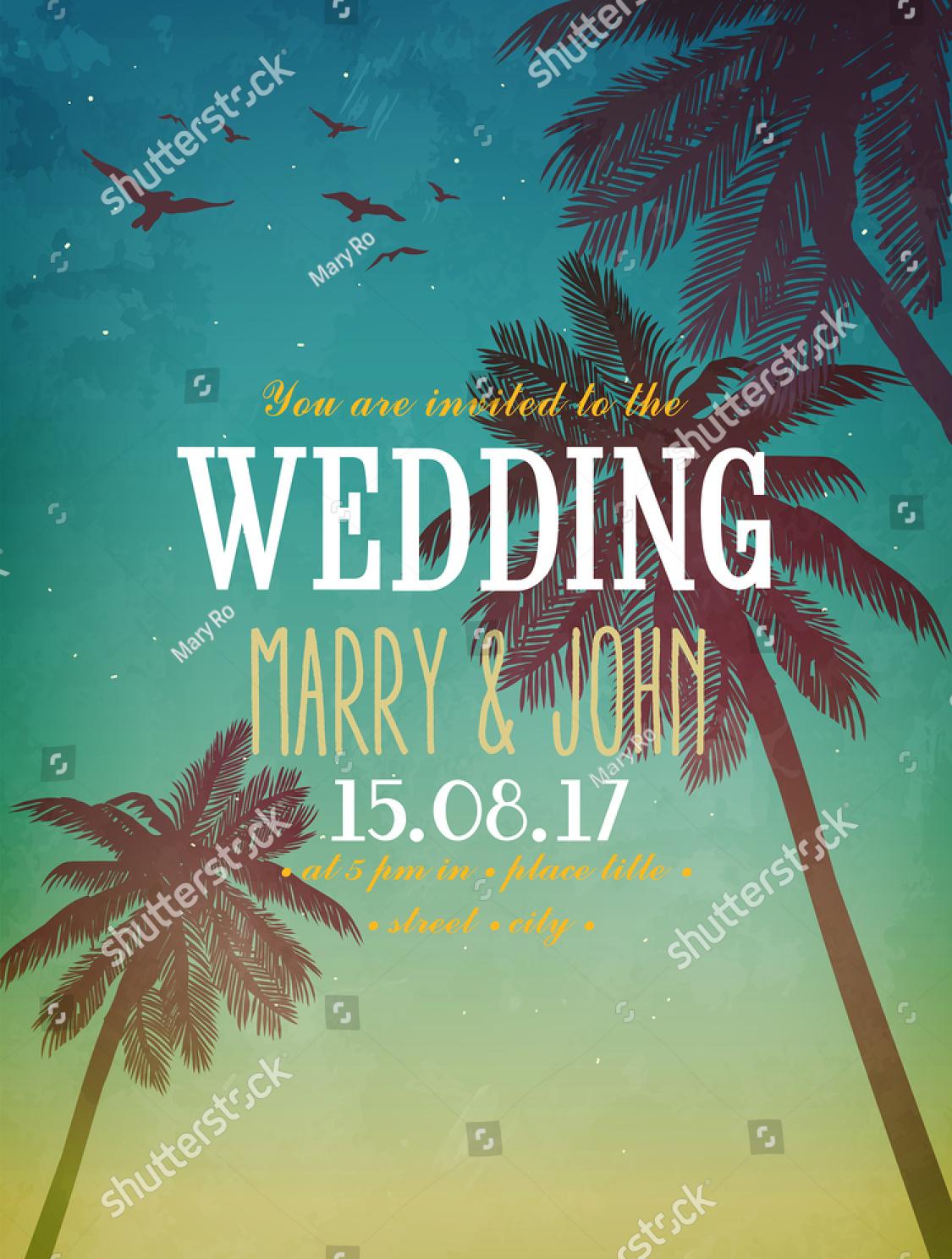 summer beach illustration wedding invitation