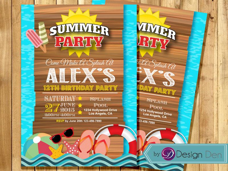summer birthday party invitation