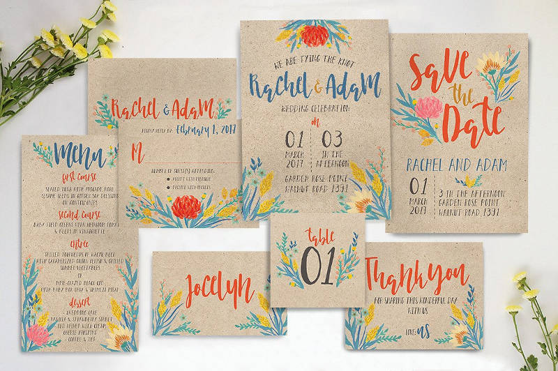 summer floral wedding invitation1