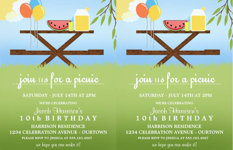 summer picnic birthday party invitation