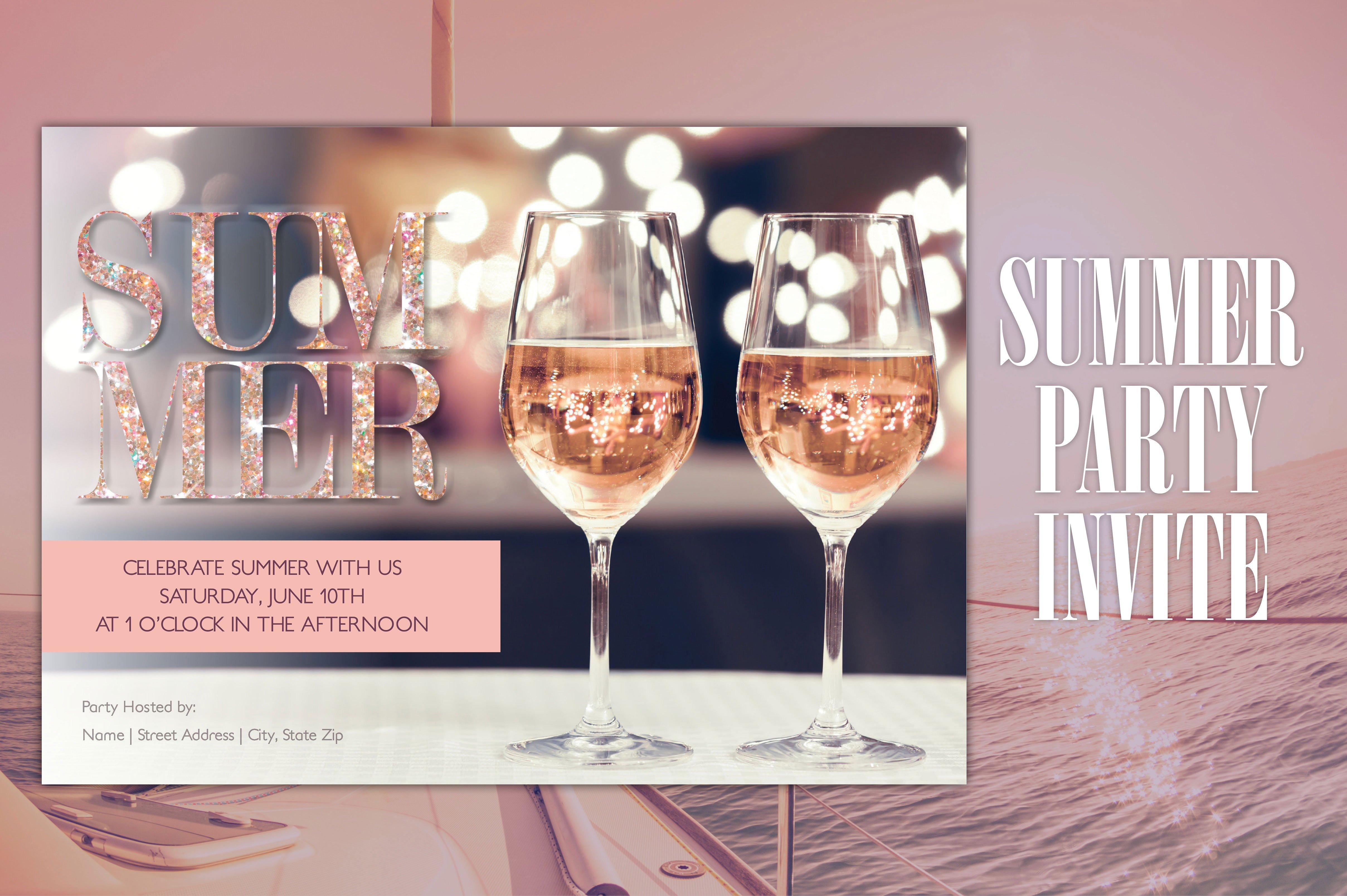 summer wine party invitation