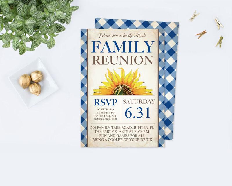 sunflower family reunion invitation